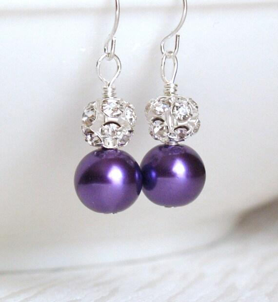 bridesmaid jewelry purple bridesmaid earrings pearl bridesmaid