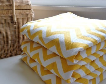 Waterproof Picnic Blanket-Yellow Chevron-As Seen on Better Homes