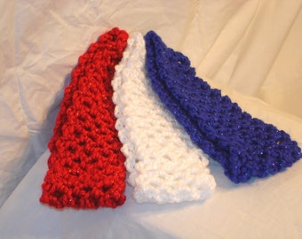 Red White Blue Color Crocheted Headband Set of 3