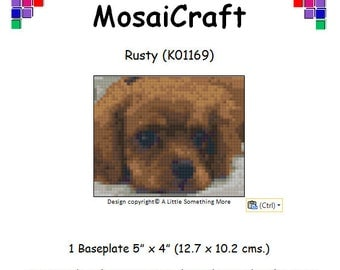 MosaiCraft Pixel Craft Mosaic Art Kit 'Rusty' Cavalier King Charles Puppy (Like Mini Mosaic and Paint by Numbers)