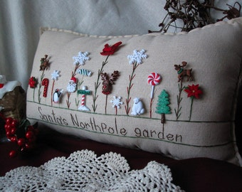 Santa's North Pole Garden Pillow