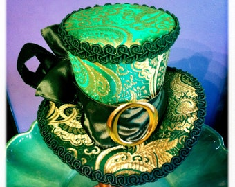 La Fee Verte  Mini Top Hat with Green & Gold Brocade