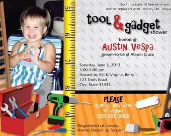 Tool & Gadget Shower Customizable Invitation, digital printable 5x7 file