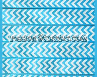"5 yds 5/8""  Turquoise and White Chevron Striped Stripe Grosgrain Ribbon"
