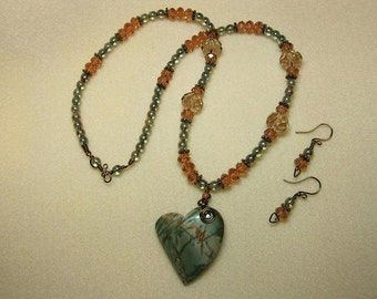 Jasper Heart necklace set