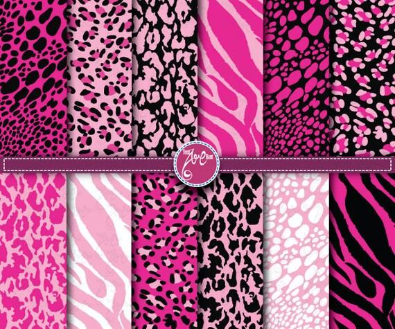 Pink Animal Print Digital PaperANIMAL PRINTclip Art By
