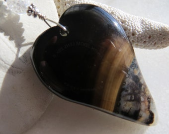 Black Agate Heart Necklace, Heart Necklace, Leather Sweetheart Necklace, Valentine's Gift, Valentine Necklace, Sterling Silver Necklace