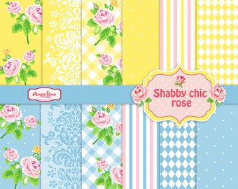 12 Shabby Chic Rose Digital Scrapbook Papers. 1 vector Rose images in 1 EPS.