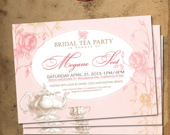 Shabby chic Hand drawn Bridal Tea Party  Invitation. DIY card. Flowers. Digital Printable card