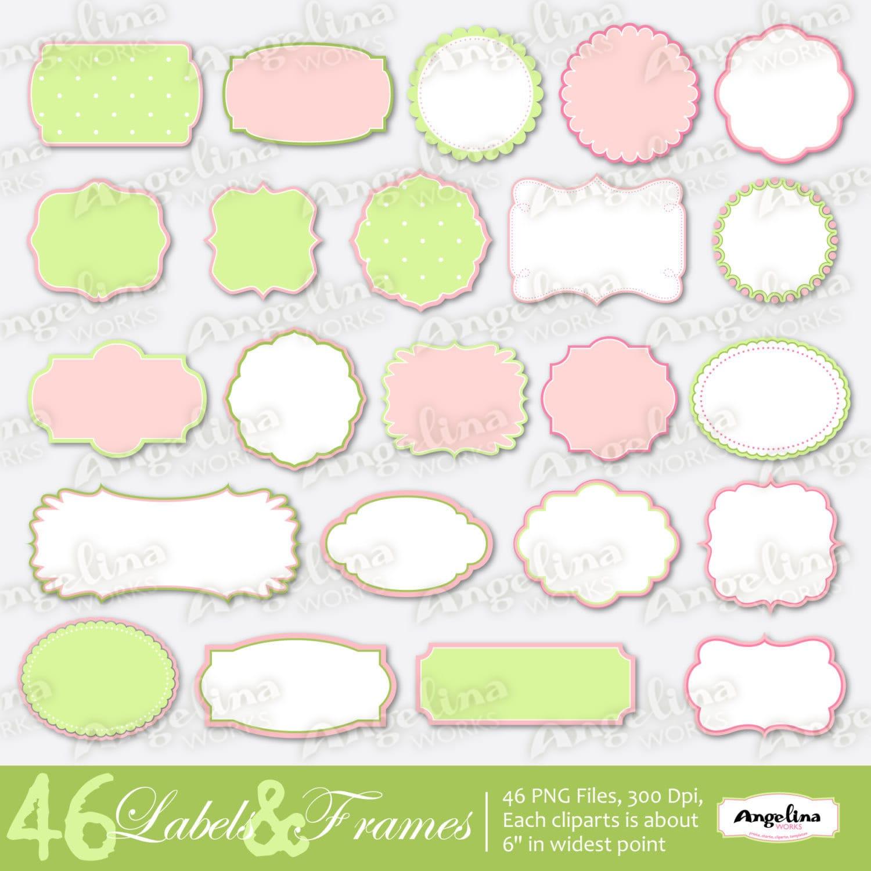 46 Digital Colored Label Frames Borders For Scrapbooking Cards Shabby Chic Scrapbook PinkGreen