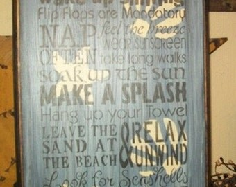 Beach Rules Typography Summer Primitive Sign