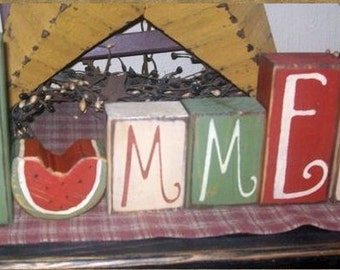 SUMMER FIREWORKS Primitive block Sign
