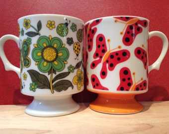 Butterflies, ladybugs, and flowers mugs