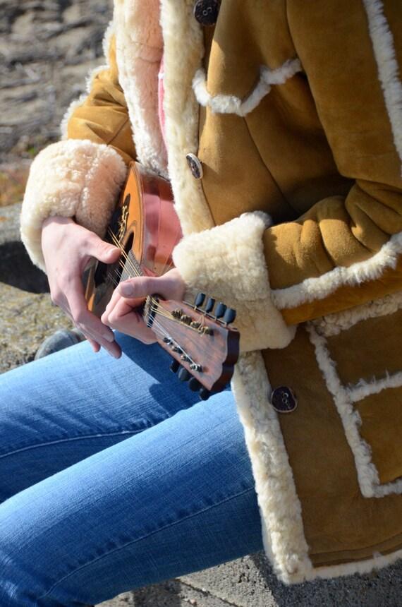 Shearling Coat Jacket Women's Vintage Brown/tan Authentic