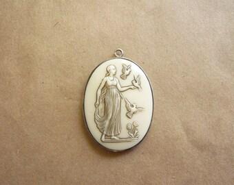 Vintage Grecian Goddess Glass Pendant