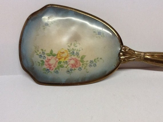 Cool Vintage Hand Held Mirror Collectable Women Shabby Chic