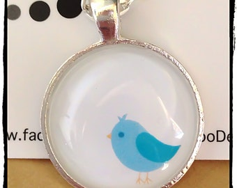 FREE SHIPPING Blue Bird glass tile pendant necklace on silver