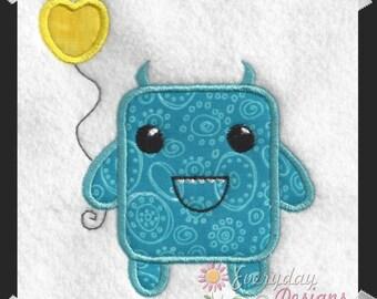Blue Love Monster Applique' Design Valentine's Day Machine Embroidery Applique' Design