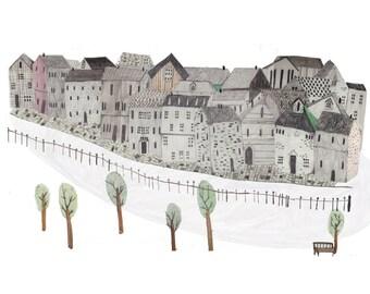 Little houses. Art Print. Wall art. Illustration