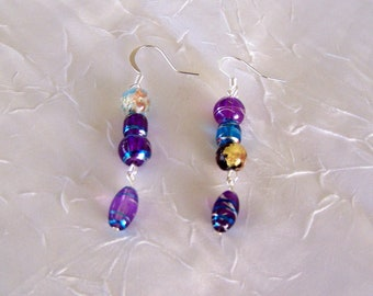 Earrings  Multi colored painted glass