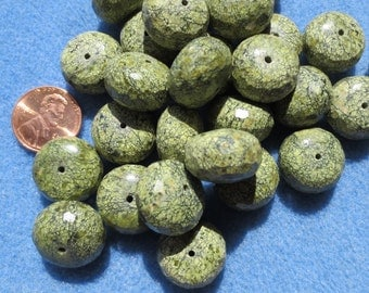 Serpentine Faceted Rondelle Beads, 4 Beads - Item 165