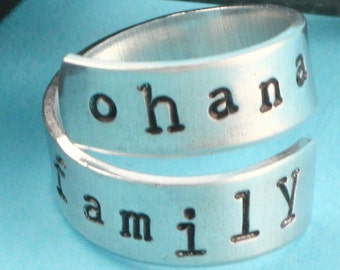 SALE - Ohana Equals Family Ring - Adjustable Twist Aluminum Ring - Handstamped Ring