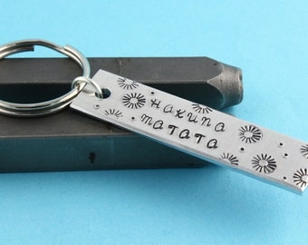SALE - Hakuna Matata Keychain - Aluminum Key Ring - No Worries - Mother's Day Gift
