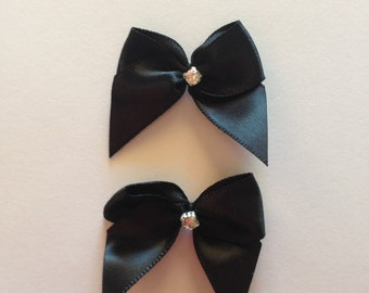 Black dog bows with rhinestone