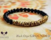Black Onyx Grounded Mala Bracelet  / Black Onyx Gemstone Bracelet with Brass Accents