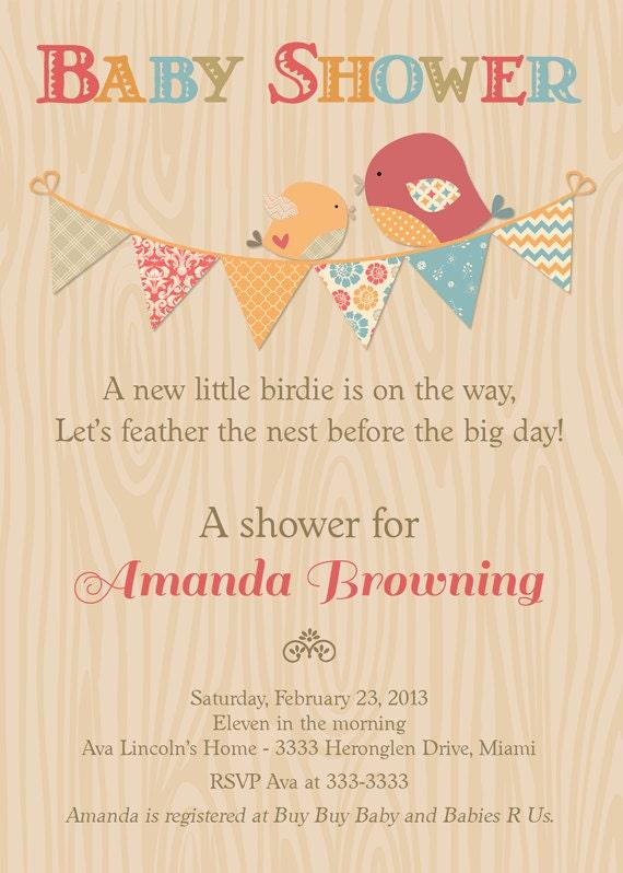 Bird Baby Shower Invitation, Rustic Feather the Nest Baby Shower Invitation, Bunting Baby shower Invite, Gender Neutral Baby Shower