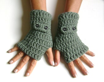 Fingerless wool gloves gray grey  gloves cozy gloves free shipping