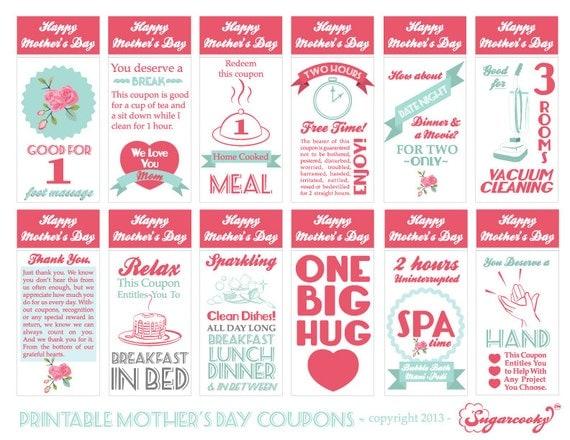mother u0026 39 s day printable gift coupons