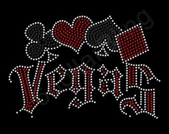 "Rhinestone Iron On Transfer ""Vegas"" Crystal Bling Design Card Suits"