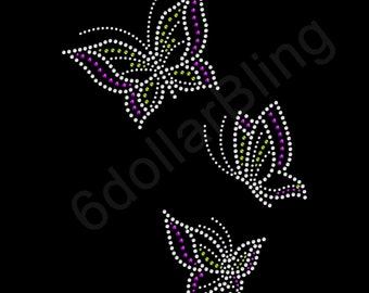 "Rhinestone Iron On Transfer ""Butterflies"" - Crystal Bling Design 3 for 1"