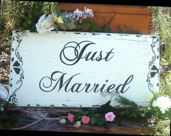 Just Married Wedding Sign Shabby Chic Wedding Sign Wood Wedding Sign