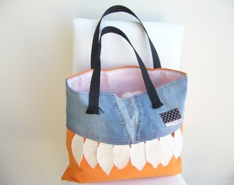 Beach Bag Orange , Denim / Shoulder bag canvas / OOAK /For lovely,shiny summer days