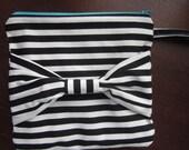 Black and white stripe clutch