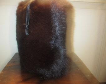 Vintage Barrel Fur Muff With Wristlet