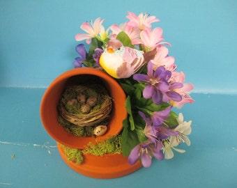 Spring and Summer flowerpot arrangement ooak with bird,eggs, and nest