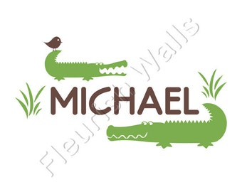 Alligator Wall Decal - Personalized Vinyl Name Wall Decal for Boy Baby Nursery Playroom or Boys Room Wall Art 15H x 28W BN023