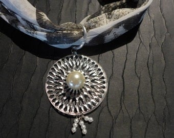 Silver starburst pearl scarf accessory