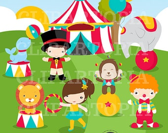 Circus Digital Clipart for Personal and Commercial use / INSTANT DOWNLOAD