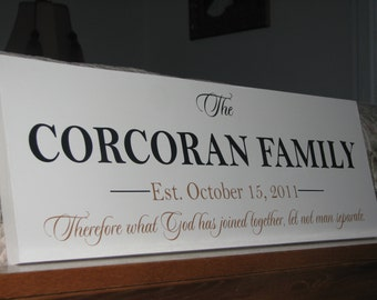 """Personalized Wedding Gift Wood Sign with Family Last Name and Established Date """"What God Has Joined Together""""  Christmas Gift Idea"""