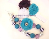 Purple, turquoise and white shabby flower headband and necklace set