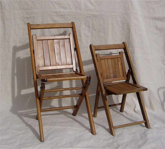 Antique folding chairs wood slat pair adult child sized c for Kid sized furniture