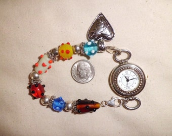 NEW Artists Glass Bead Charm Sterling Silver Watch Custom Bracelet with Heart