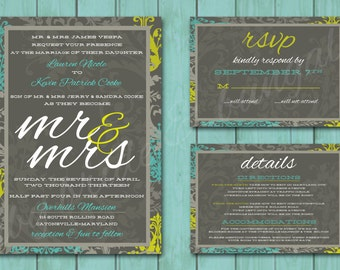 Beautiful Damask wedding invite with response and details card: printable and customizable, 5x7