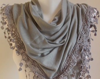 SAHRASCARF/Gray Cotton Triangle Scarf Shawl Lace Cowl Scarf WomenScarf Soft Shawl  Scarf  Cowl Scarf