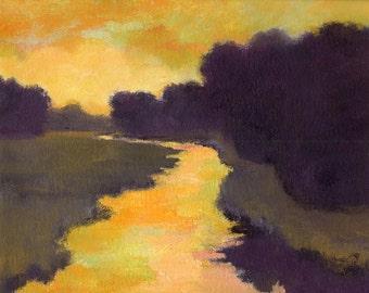 Custom original oil 16x20 painting, landscape art, river scene at sunset, evening landscapes, gold, black, aqua, green, fields and trees