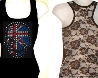 Brand New NailHead & Stud SKULL Flag  Lace Back TANKTOP Shirst Blacks Size:S, To XL  Free Shipping available in white color